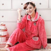 Winter coral fleece sleepwear super soft flannel women's embroidered lounge thickening long-sleeve winter set