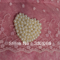 Wholesale diy Handmade Sewing Heart Pearl Buckle Accessories for Shoes Collars Headwears Clothes free shipping