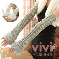 Quality winter lovely yarn gentlewomen thickening oversleeps semi-finger arm sleeve long gloves