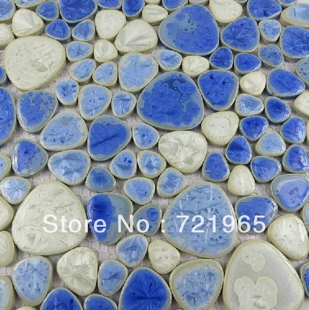 Wandtegels Keuken Blauw : Porcelain Mosaic Tile Bathroom Floor