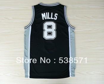 top quality cheap San Antonio Wright Mills #8 mens retro basketball jerseys shirt customize logo Rev 30 embroidery white black