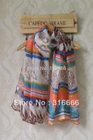 Scarf fashion style designer 2013,Free shipping,women scarves,Geometric stripe print,cashew nut print,Bohemia style,cape,bandana