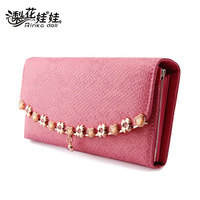 2013 NEW flower rhinestone patent leather embossed long purse wallet women wallet lady purse