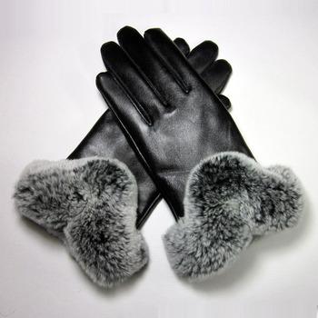 Genuine leather gloves sheepskin gloves female winter thermal thickening plus velvet Women rex rabbit hair gloves