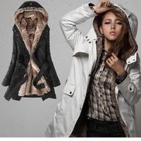 New Cool Style Faux Fur Winter Warm Hood Long Jacket Coat Black Beige Army Green Color