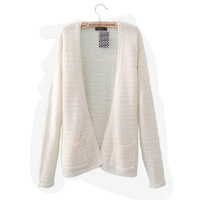 Free Shipping 2013 Autumn Fashion Cardigan Sweater Women Cuff Roll-up Hem Stripe Long Sleeve
