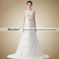 Free Shipping High-end Custom Princess Scoop Straps Chapel Train Tulle Lace Wedding Dress With Diamond HoozGee-34064