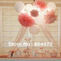 6'' inch (15cm) Colorful Tissue Paper PomPoms Hanging decorative flower ball Wholesale flower shaped paper lantern