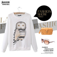 Free Shipping 2013 Sport Suit Women Rhinestones Owl Print Top Long Sleeve Sweatshirts Outerwear
