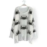 Free Shipping  Crochet Blouse Printed Cat Hole Loose Thin Sweater Pullover