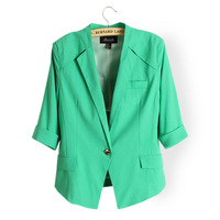 Free Shipping 2013 Women's Coats Candy Color One Button Pocket Stand Collar Half Sleeve Blazer