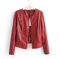 Free Shipping New 2013 Women's Leather Jacket  Zipper Pocket Collarless Slim Standard Long Sleeve