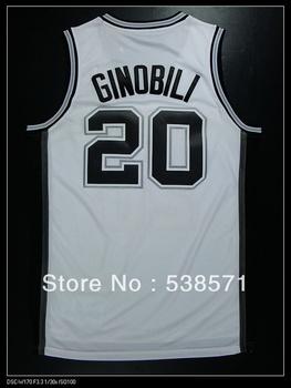 top quality cheap San Antonio Manu Ginobili #20 mens retro basketball jerseys shirt customize logo Rev 30 embroidery white
