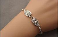 Fashion Jewelry Vintage Silvers   3D Alloy  Owls Chain Charms Bracelet &Bangles DIY  Free Shipping 10pcs Z1438