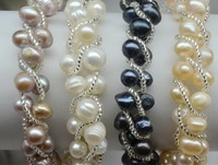 MIX COLOR 100% Genuine REAL Charm Freshwater Pearl Bracelet Bangle Hot Cheap Fashion Jewelry with Magnetic Clasp