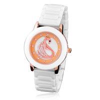 Free Shipping!!! New Arrival Fashion Ceramic  Rhinestone Swan Pattern Quartz Watch For Women