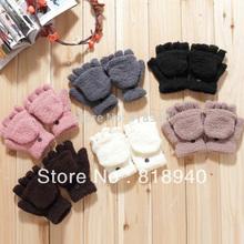Women Half Finger Gloves Fold Over Winter Warm Mitten Mitt Cute Black/White/Gray(China (Mainland))
