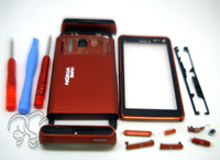 Plastic full housing aluminum metal back cover+keyboard+tools for Nokia n8 red