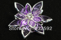 Hot Sale 10pcs/34*30mm Silver Plated Purple Flower Drill/Rhinestone Embellishment Findings For Clothing & Jewelry DIY