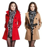 Free Shipping Wholesale & Retail Women's Coat With Good Quality Plus Size XXL Long/Short Woolen Winter Jackets