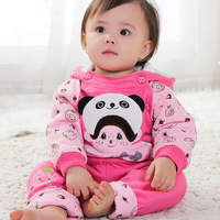 2013 children's 2pcs clothing set thickening cotton-padded twinset for baby girl wadded outerwear 2colors PPN-1