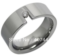 Free Shipping USA Hot Selling Unique High Polish &Inlay a CZ Tungsten Wedding Band Ring 8mm US sizes (7-10) Cobalt Free