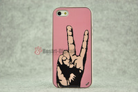 1pcs, Victors Gesture With Retail packing, PC+TPU Skin Cover Case for iphone 5/5S, Best for iphone 5 Case, New Look