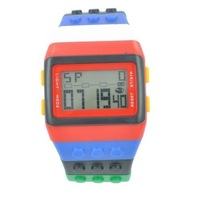 Baolihao Multi-Color Block Brick Style Wrist Watch with LED Night Light WTH0367