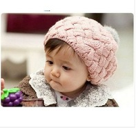 Free Shipping 4colors Hot sale Fashion Cute Children  Kids Knit Crochet Beanie Winter Warm Skullies & Beanies