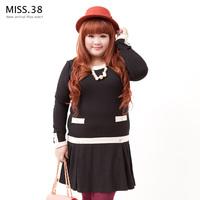 Miss38 plus size female mm autumn 2013 little low-waist ruffle hem stretch cotton one-piece dress 7148