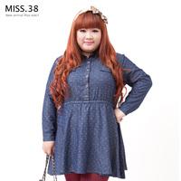 Miss38 plus size female mm autumn jacquard open front elastic high waist denim one-piece dress 7592