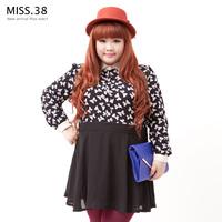 Miss38 plus size female 2013 autumn black-matrix bow high waist chiffon one-piece dress 7598