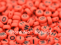 Free Shipping 500 Pcs Random Mixed Red Letter /Alphabet Acrylic Spacer Beads 7mm Dia.(W02535 X 1)