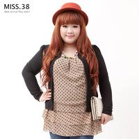 Miss38 autumn plus size female mm polka dot chiffon velvet faux two piece long top 6542