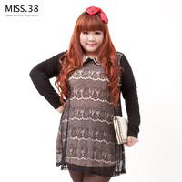 Miss38 plus size plus size female autumn peter pan collar smut chiffon lace one-piece dress 7061