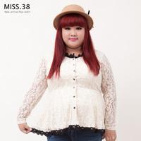 Miss38 plus size clothing autumn princess o-neck black elastic lace shirt high waist 7282 basic shirt
