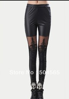 Hot Style Faux Leather Leggings Fashion Lace Net Patchwork Render Pants LG-001
