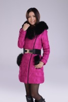 2013 winter women's down coat slim fur collar large medium-long women down coat