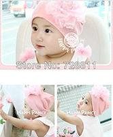 FREE SHIPPING  baby girl pink cap baby winter warm hat toddler flower beanies children fashion knitted cap earmuff hat 10pcs/lot
