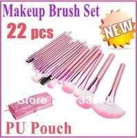 Hot!!!!! 22 make up brush makeup pink make-up brush sets toiletry bags wool makeup brush sets brand cases