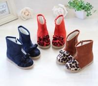 2013 female child princess boots plus velvet bow snow boots children boots leopard print zhongbang child cotton boots winter