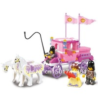 Free Shipping Sluban Building Blocks Enlighten Girls Toy/Pink Fantasy Royal Carriage 137pieces/3 minifigures Diy Christmas gifts