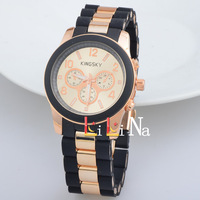 New arrivals electroplate gold acrylic, silica gel bracelet / multicolor selection woman / man watch