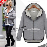 Fashion autumn 2013 women's fashion 100% cotton female plus size with a hood cardigan sweatshirt Women