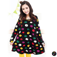 free shipping 2013 autumn women's color puppy print plus size balmacaan casual t-shirt 6528