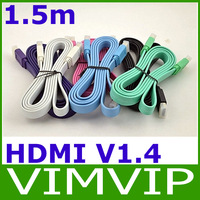 Eight color High speed10ft 3m hdmi flat cable 1.4 full HD1080P supported with 3D Free Shipping
