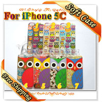 1 Piece So Cute Birds OWL Glossy Hard Cases For iPhone 5C Free Shipping