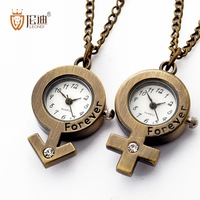 Pocket watch lovers vintage watch eternal necklace table a pair quartz watch