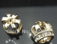 free shipping 50pcs crown gold color zinc alloy and rhinestone Hang Pendant Charm DIY accessory  fit necklace