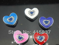 50pcs 8mm Heart mix color zinc alloy and rhinestone Slide Charms DIY charms Fit 8mm Pet Collars Wristbands Belts free shipping